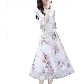[美しいです]シフォンワンピース 花柄ワンピース ウェスト 結婚式ワンピース お呼ばれ 二次会 ワンピース イブニングドレス 写真色S
