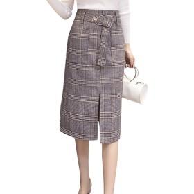 Aラインスカート レディース グレンチェック スカート 秋スカート 膝スカート チェック 可愛い お洒落 大人のスカート 大きいサイズ S M L XL 2XL秋服 冬服 (グレー, S)
