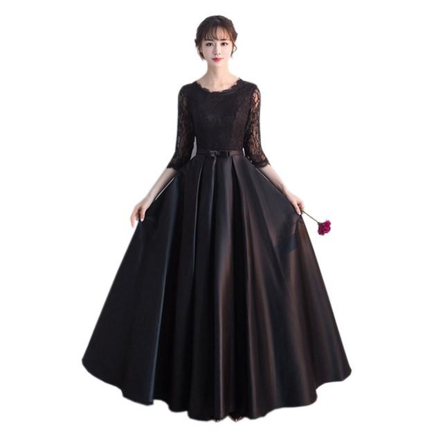 ドレス ロング 黒 ドレス 発表会 大人 レース フォーマル 結婚式 パーティー ロングドレス お呼ばれ 大人 マキシ丈 二次会 演奏会 (XL, 黒)