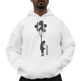 Nutees Unisex Banksy Girl With Balloons Graffiti Funny Hoodie White Large