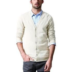 Matchstick (マッチスティック) カーディガン メンズ ビジネス 大きいサイズ ニット Vネック 無地 目立つ 長袖 春 春服#Z1522(XL,アイボリー)