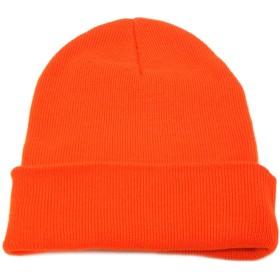 ハッピーハット 帽子 ニット帽 無地コットン100% knit-1237-05 オレンジ