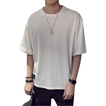 MissX Tシャツ メンズ 半袖 カットソー 五分袖Tシャツ 吸汗速乾 軽い 柔らかい 夏服 夏季対応 白色M