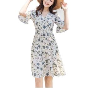 JOMISS 花柄 フリル カシュクール ワンピース 大人 可愛い 半袖 切り替え ワンピ M ~ XL レディース (ホワイト, 2XL)
