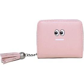 財布 レディース 二つ折り ミニ財布 可愛い フリンジ 大容量 多機能 スナップボタン&ファスナー 小銭入れ (ピンク)