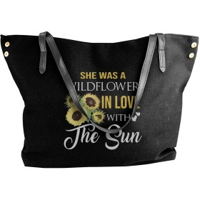 She Was A WILDFLOWER In Love With The Sun ひまわり キャンバスバッグ トートバッグ Canvas Bag レディース メンズ マザーズバッグ ママバッグ 大容量 通勤 通学 旅行 帆布 カジュアル 多機能 多用途 肩掛け 肩がけ オシャレ
