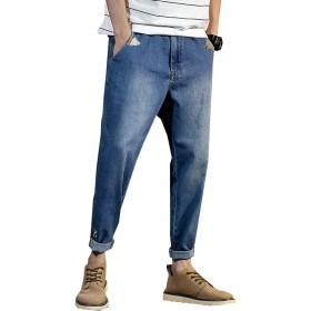 AVIDACE メンズ ジーパン デニムパンツ ゆったり デニム ライン ジーンズ 9分丈 通勤 通学 アウトドアツ ブルー ズボン