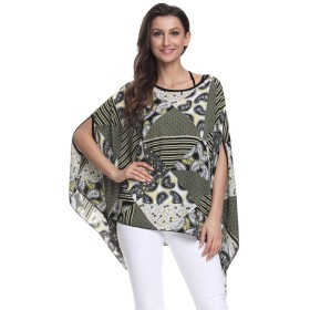 Women Loose Batwing Sleeve Tee Shirts Chiffon Solid Color Blouse Summer Boho Floral Tops (26)