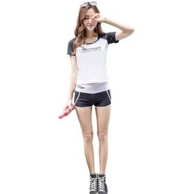 タンキニ ラッシュガード ホワイト ブラック XL はんそで ロング サップヨガ ウェア 水着 マリンスポーツ ウェア女の子用 おおきめ 体型 カバー ママ水着