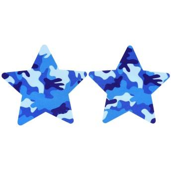 CHIC DIARY ニプレス ニップレス ニップレスシール 使い捨て ハート 花型 星 円型 クロス 20枚 (星ブルー迷彩)