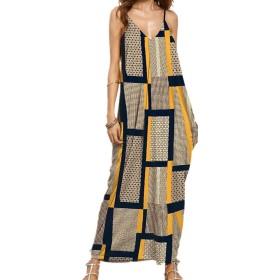 EASONDDD 全8色 レディース ワンピース ランタン マキシ丈スカート シンプル ゆったり ソリッド 袖なし Vネック タンクトップ ゆるい 春夏 体型カバー ロング キャミ ナチュラル ワンピース 大きいサイズ