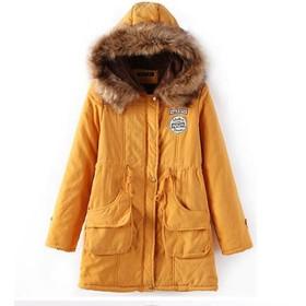 Lisa Pulster レディーズ コート 中綿 ジャケット ミリタリー コート 裏ボア モッズコート (イエロー, XL)