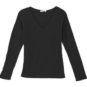 (パークガール)PARK GIRL ワイドリブ素材シームレスダブルフロントVネック長袖カットソー レディース 大きいサイズ M/L 5677700000 (L, ブラック)