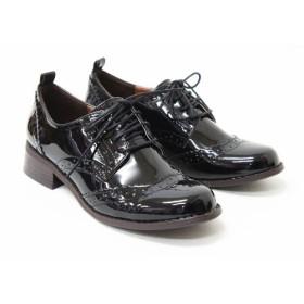 [ファッションシューズアベリア] ブーティー オックスフォード レディース (3L(24.5~25.0cm), ブラックE)