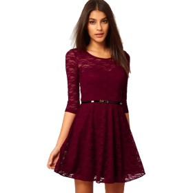 Women's Loose Half Sleeve Swing Dress Round Neck Elegant Floral Lace Cocktail Evening Party Flare Dresses with Waist Belt (S, Wine Red)