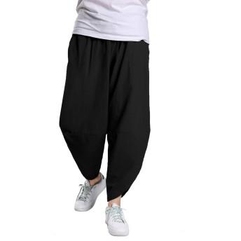 サルエルパンツ タイパンツ アラジンパンツ 麻 棉 ゆったり 大きいサイズ カジュアル ヒップホップ 無地 メンズ レディース ユニセックス オールシーズン対応 ズボン