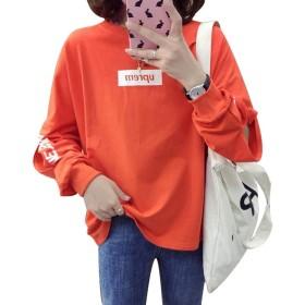 Gergeous長袖 tシャツ レディース ゆったり カットソー トレーナー ファッション トップス 春 ロンt(Gオレンジ)