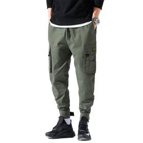 FUSHI&MON ジョガーパンツ メンズ スウェット サルエル カーゴ スキニー テーパード ワーク ゆったり ロングパンツ 大きサイズ (M, グリーン)