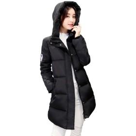 Pampera(パムペラ) レディーズ 中綿 ロングコート フード付き 厚手 暖か 防寒 スリム 着痩せ 中綿ジャケット P820 (XL, ブラック)
