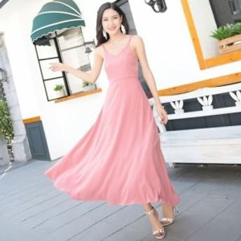 マキシワンピース ノースリーブ ロング丈 バックリボン サマードレス 結婚式 二次会 お呼ばれ ピンク 黒 韓国
