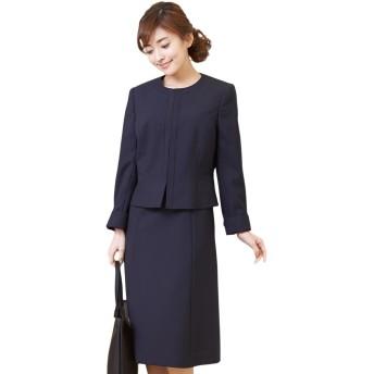 お受験スーツ ママ 濃紺スーツ B-GALLERY ノーカラージャケット ワンピース お受験アンサンブル レディース フォーマル 夏 ネイビー 11号 (160611425)