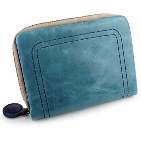 [パッカパッカ] pacca pacca 二つ折り財布 財布 ファスナー お札入れ 大容量 カード入れ ポケット 馬革 本革 かわいい カラフル キュート (ブルー×ネイビー)