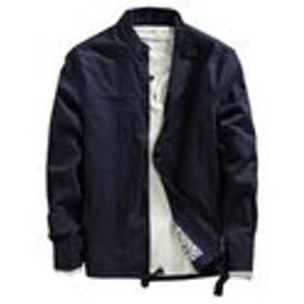 SHUNYI ブルゾン メンズ ジャケット ボンバー フライト ジャンバー 大きサイズ アウター トップス セーター ブラック オシャレ ストリート きれいめ 全4色 ネイビーL