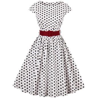 YACUNレディース ワンピース ロカビリー 水玉模様 1950 年代 レトロ Aライン ベルト付き カクテル 結婚式 パーティー 白 S