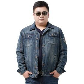 (ワンース) Wansi デニム ジャケット メンズ 大きいサイズ 体重100kg以上もOK Gジャン ジージャン カジュアル デイリー ライトブルー XXXL