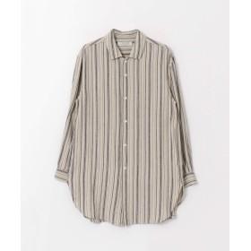 [サニーレーベル] ワイシャツ リネン混ストライプロングシャツ メンズ ベージュ系 M