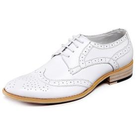 [ロモンス] メンズ ホワイト 26.0cm イングランド風 ウイングチップ セミブローグ 紳士 ビジネスシューズ