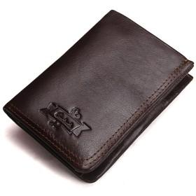 [XINXIKEJI財布 メンズ 小銭入れ 多機能 大容量 カード収納 イタリア風 使いやすい コンパクト 柔らかい オシャレ 二つ折り財布 男性用 コーヒー