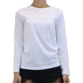 GUESS (ゲス) レディース ロングスリーブ Tシャツ YI2K9409LS トライアング エンボス 長袖 ロンT (S, ホワイト)