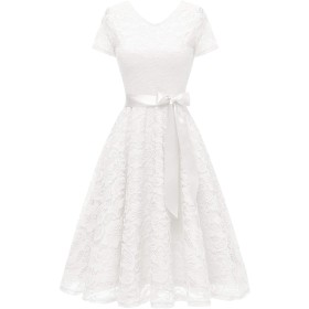 Bridesmay パーティドレス 結婚式 ワンピース レディース 秋冬 半袖 ひざ丈 総レース 花柄 リボン付き ホワイト Sサイズ