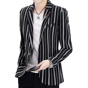 Bestmoodテーラードジャケット メンズ スリム 韓国 スーツ ストライプ柄 ファッション ジャケット フォーマル おしゃれ アウター ビジネス 通勤 春(V黒)