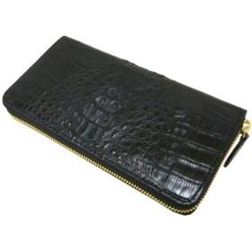 SantaMaria クロコダイル財布 レディース メンズ カイマンマットHB ラウンドファスナー 長財布 (ブラック)