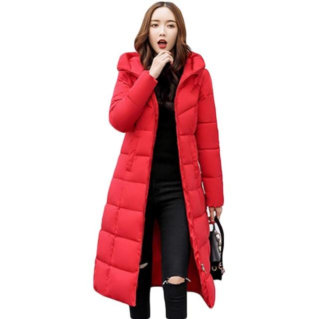 [habille]レディース ロング丈 ベンチコート ロングダウンコート 選べる5色展開 大きいサイズ アウター(XL/レッド)