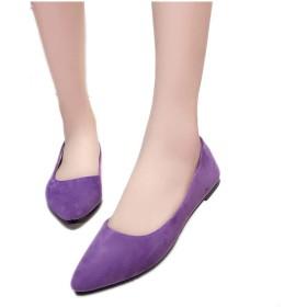 [楽ファッション] 特価~ポインテッドトゥ パンプス 痛くない 黒 靴 スエード グレー 歩きやすい レディース ポインテッド バレエシューズ ローヒール パンプス オフィス 通勤 靴 レディース 22.5-24.5cm 走れるパンプス シューズ 靴 くつ 美脚 (40(サイズ40=25.0cm), パープル)