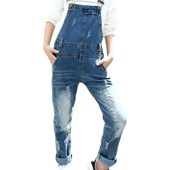 ZUOMA キッズ服 秋の新番 ガールズパンツ サロペットパンツ ジンズ デニムパンツ ファッション 韓国スタイル オールインワン (160cm, ブルー)