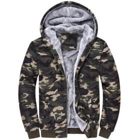 [リュハイ] 迷彩柄 ダウンジャケット メンズ フード付き ダウン コート 大きいサイズ 冬物 ショート丈 カモフラ 暖かい カジュアル スリム 防寒 軽量 モスグリーン2XL