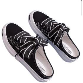 [JIANGWEI] (ジャンーウェ)キャンバス サボサンダル スニーカー レディース ローカット レースアップ スリッポン かかとなし 歩きやすい 美脚 普段履き お洒落 カジュアル ブラック25