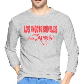 ロス・インゴベルナブレス・デ・ハポン Tシャツ 長袖 メンズ ロングスリーブ 丸首 無地 綿 カジュアル ゆったり 薄手 4色 大きいサイズ