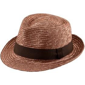 (田中帽子) ノア 日本製 麦わら 中折れ ハット / 9-10mm (麦わら帽子 メンズ 大きいサイズ ストロー 紫外線 uv 対策 日焼け防止 日よけ 春日部 ギフト 誕生日 男性 女性 父の日プレゼント 人気商品) UKH005 (S(56.5cm), ブラウン)
