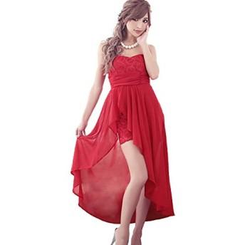 ティカ キャバ ロングドレス 前ミニドレス フラワーモチーフロングテールタイトミニドレス Mサイズ レッド