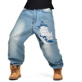 デニムパンツ メンズ ジーンズ 極太 バギーパンツ ヒップホップ ゆったり B系 カーゴパンツ ワイドパンツ ボトムス 大きいサイズ ストリート系