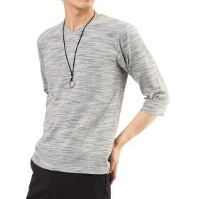 (アーケード) ARCADE メンズ カットソー スラブボーダー 7分袖 Vネック Tシャツ M グレー(7分袖)