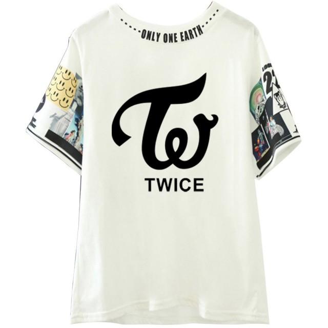 LiLing阿七 応援グッズ Tシャツ TWICE VIP 日常用 韓国アイドル ファッション 周辺 半袖 Tシャツ (M, 1#)