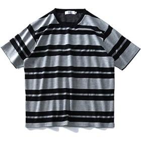 DANIEL DODD 杉綾 ボーダー 半袖 Tシャツ azt-1902131 大きいサイズ メンズ【990.ブラック-8L】