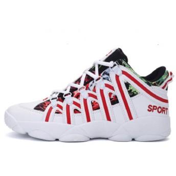 M&Y メンズ レディース 新番 韓流 HIP-HOPヒップホップ ハイカットスケートシューズ 背が高くなるシークレット靴 ライン ストライプ 厚底スニーカー 身長6cm UP (25cm, ホワイト&レッド)