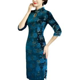[もうほうきょう] チャイナドレス レディース ベルベット 新型大きいサイズ七分袖 ファッション 復古 修身日常のチャイナドレス ロングワンピース (グリーン, L)